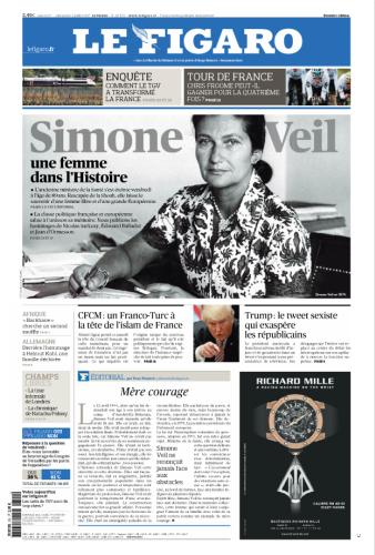 « Une femme dans l'Histoire » saluée par «Le Figaro» dont l'éditorialiste Yves Thréard relève que « cette femme qui savait si bien conjuguer l'amour de sa famille avec celui de sa patrie restera comme un exemple de mère courage ».