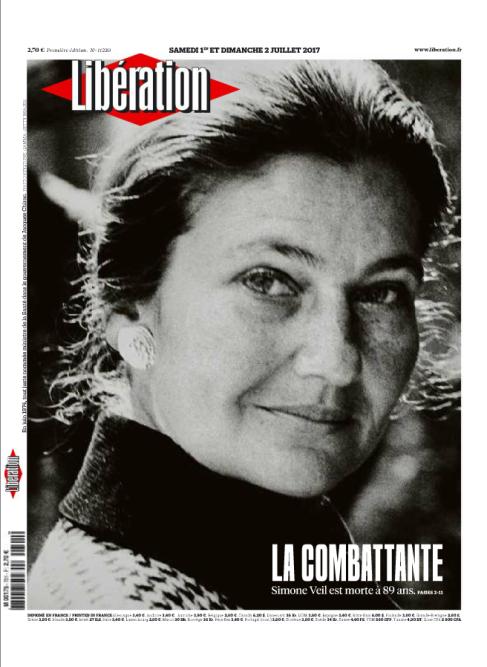 «Libération» salue « Simone Veil, une vie debout », des camps nazis à la présidence du Parlement européen en passant par la loi sur l'interruption volontaire de grossesse(IVG). « Une femme pour la liberté », écrit le directeur Laurent Joffrin.