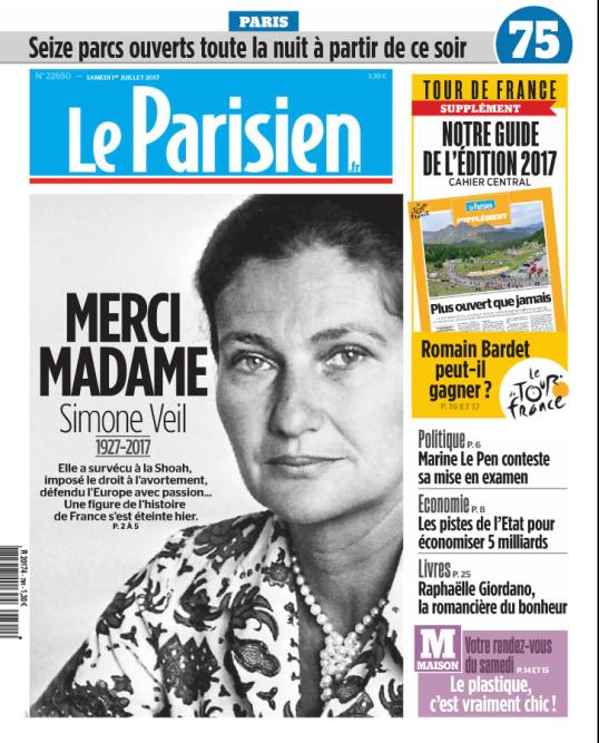 « Merci Madame », écrit «Le Parisien» à la « une«. « Indifférente aux étiquettes, fidèle à ses convictions. Un résumé de ce que devrait être la politique. Aujourd'hui comme hier », souligne Frédéric Vézard, dans l'éditorial du quotidien.