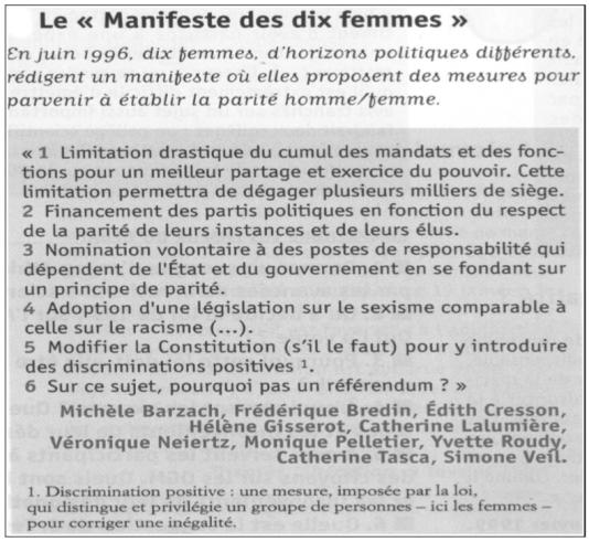 """Dix femmes politiques de droite, de gauche et du centre signent """"L'appel des Dix"""" en juin1996, un manifeste qui défend la parité."""