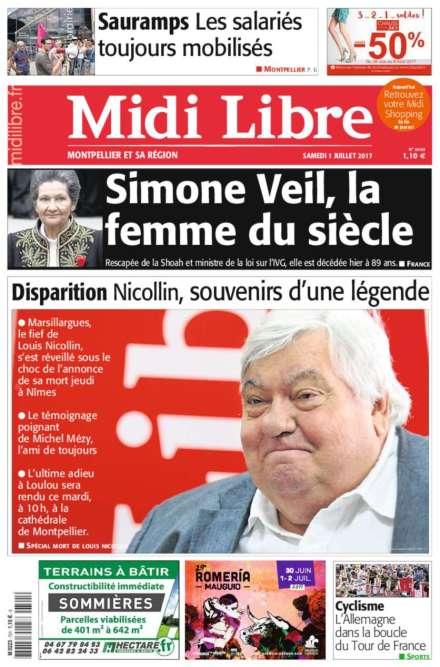 Dans «Midi Libre» qui revient sur le décès du charismatique Louis Nicolin,« une légende», Simone Veil est qualifiée de« femme du siècle».