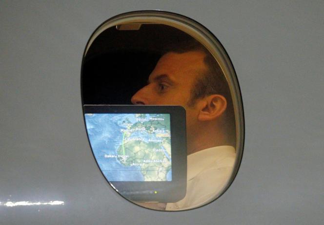 Le président Emmanuel Macron à son arrivée à Bamako, en juillet 2017
