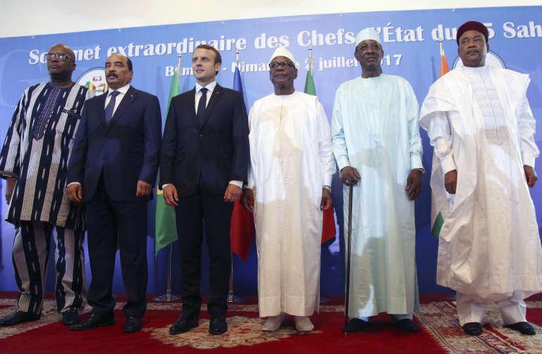 Les chefs d'Etat du Burkina Faso, de Mauritanie, de France, du Mali, du Tchad et du Niger au sommet consacré au lancement du G5 Sahel à Bamako le 2juillet.
