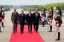Edouard Philippe, François de Rugy, président de l'Assemblée, Emmanuel Macron et Gérard Larcher, président du Sénat, à Versailles, le 3 juillet.