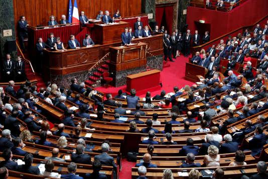 Emmanuel Macron, lors de son discours devant le Congrès réuni à Versailles le 3 juillet.