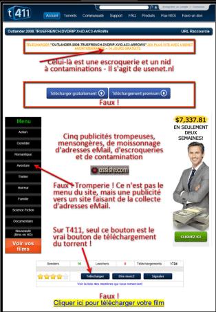 Ce montage réalisé par le site assiste.com était destiné à dénoncer l'invasion de la publicité sur T411.