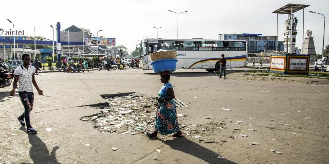 Une rue de Kinshasa, le 3avril 2017, lors d'une grève générale à l'appel de l'opposition.