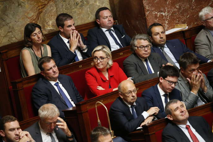 Marine Le Pen, lors du discours de politique générale du premier ministre Edouard Philippe à l'Assemblée nationale, le 4 juillet.