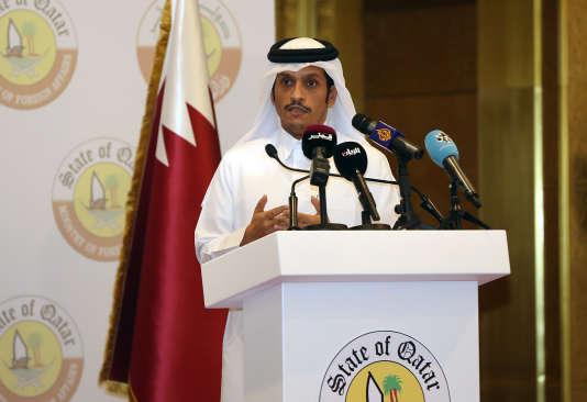 Le ministre des affaires étrangères qatari, Mohamed Ben Abderrahmane Al-Thani, le 4juillet à Doha.