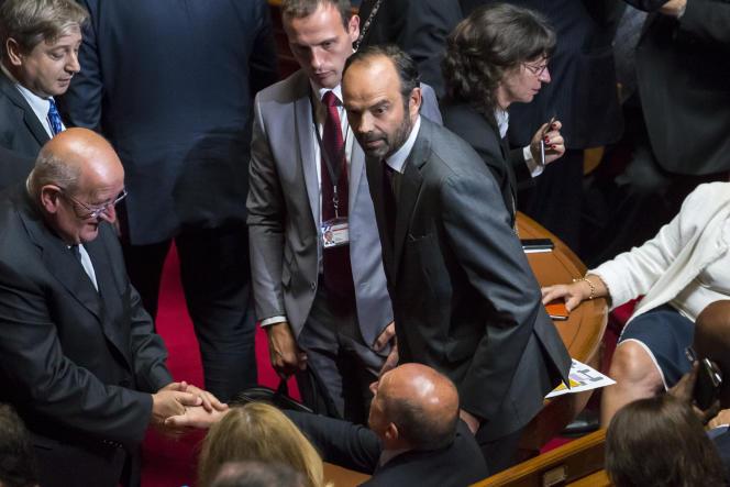 Edouard Philippe, premier ministre, assiste au discours d'Emmanuel Macron, président de la République, devant le Parlement réuni en Congrès à Versailles, lundi 3juillet 2017.