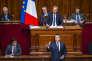 Emmanuel Macron, président de la République, parle devant le Parlement réuni en Congrès à Versailles, le 3 juillet.
