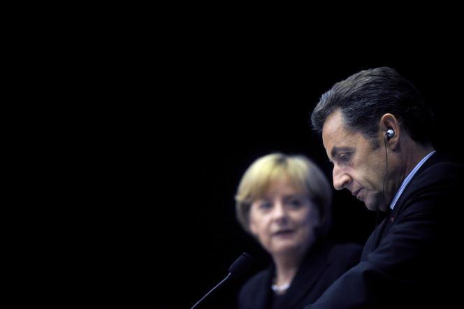 Angela Merkel et Nicolas Sarkozy le 11 octobre 2008, à Colombey-les-Deux-Eglises (Haute-Marne).