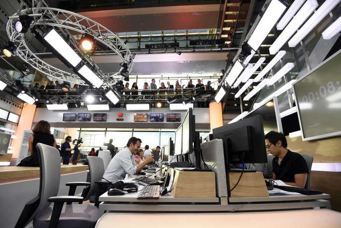 Franceinfo, à la Maison de la Radio, à Paris, le 1er septembre 2016, jour du lancement de la chaîne d'information en continu.