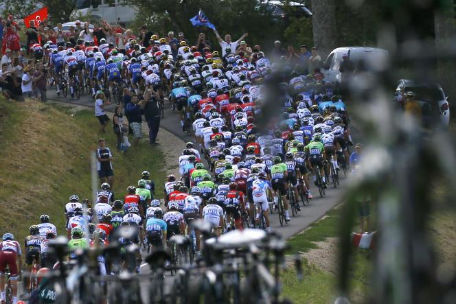 Le peloton lors de la 4e étape du Tour de France entre Mondorf-les-Bains (Luxembourg) et Vittel, le 4 juillet. (AP Photo/Peter Dejong)