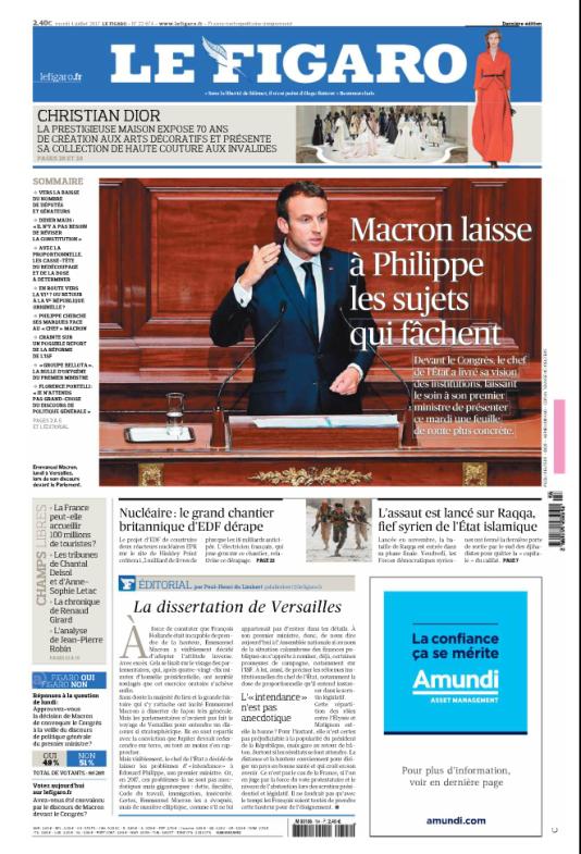 La « une» du «Figaro», mardi 4 juillet.