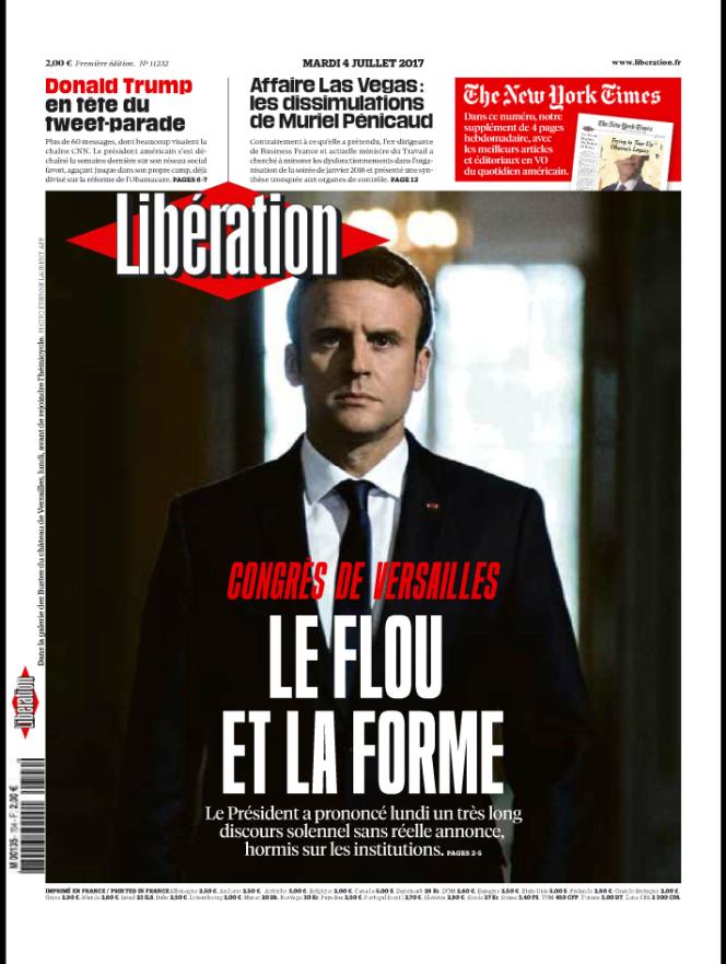 La « une»de« Libération» le mardi 4 juillet.