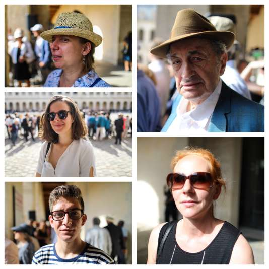 De gauche à droite et de haut en bas :Yaelle Arsa,Morgane Jean,Esteban Lacherade,James Harsch etAnne Gillet, lors de l'hommage national à Simone Veil.