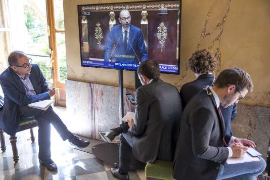 Edouard Philippe, premier ministre, prononce son discours de politique générale devant l'Assemblée nationale, à Paris, mardi 4 juillet 2017 - 2017©Jean-Claude Coutausse / french-politics pour Le Monde