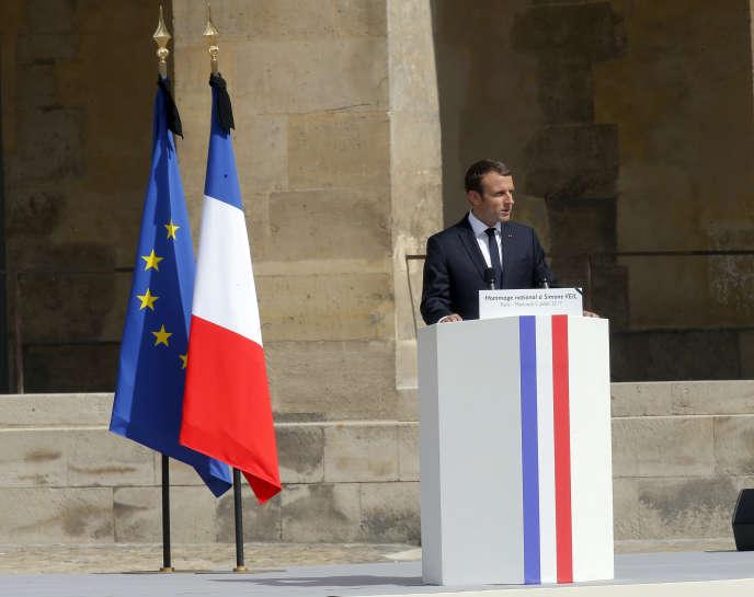 Le président Emmanuel Macron, lors de son éloge funèbre à Simone Veil, à Paris, le 5juillet 2017.