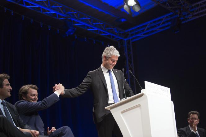 Laurent Wauquiez, ici à Mions (Rhône) le 23 mai, fait aujourd'hui figure de favori pour prendre la tête de LR.