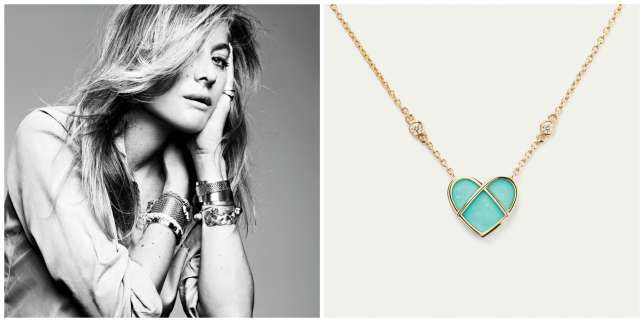 Nommée en décembre 2016, Aurélie Bidermann, directrice artistique de Poiray, a récemment présenté sa première collection dont son collier l'Attrape-Cœur enor jaune et turquoise, serti de deux diamants blancs.