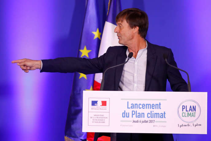 Le ministre de la transition écologique et solidaire Nicolas Hulot donne une conférence de presse sur le« plan climat», à Paris le 6 juillet.
