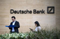 A view of the headquarters of German bank Deutsche Bank in London on May 5, 2017. / AFP PHOTO / Justin TALLIS