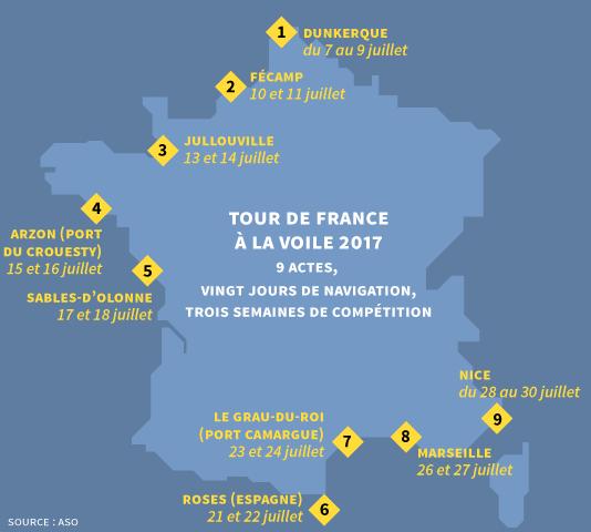 Carte des étapes du Tour de France à la voile, qui a lieu du 7 au 30 juillet 2016.