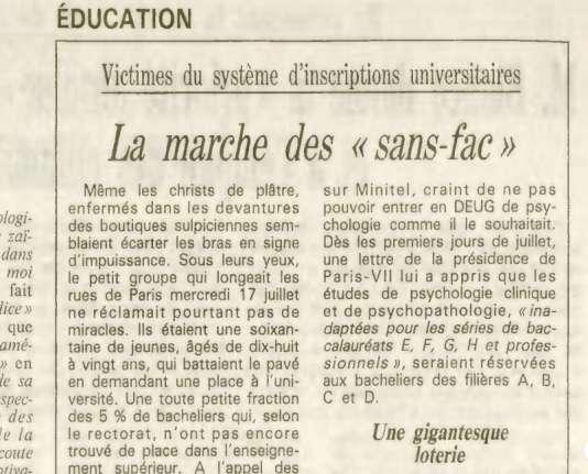 Dans une page Société du journal «Le Monde», daté du 19 juillet 1991.
