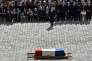 Le président Emmanuel Macron lors de la cérémonie d'hommage à Simone Veil aux Invalides, à Paris le 5 juillet.