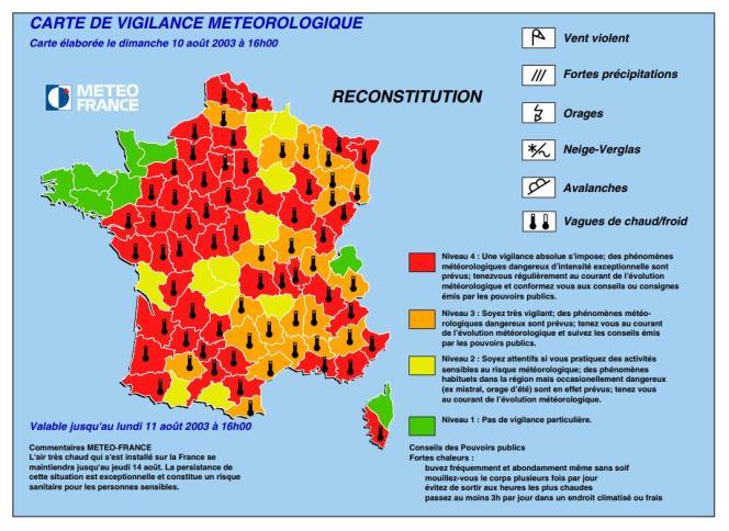 Simulation réalisée par Météo France de ce qu'aurait pu être un bulletin de vigilance canicule le 10 août 2003, basé sur les relevés de température.