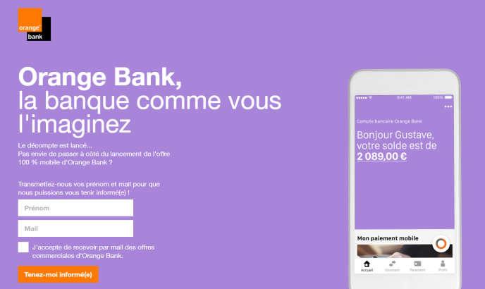 «Le décompte est lancé», indique Orange Bank sur la page d'accueil de son site début juillet 2017 (Illustration: copie d'écran www.orangebank.fr).
