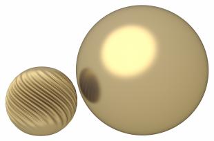 La sphère réduite est deux fois plus petite que la sphère lisse. Pourtant, leurs équateurs sont de même longueur. En théorie, la taille pourrait être encore plus faible.