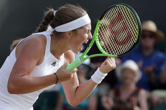 La Lettone Jelena Ostapenko lors de son match de Wimbledon, le 7 juillet.
