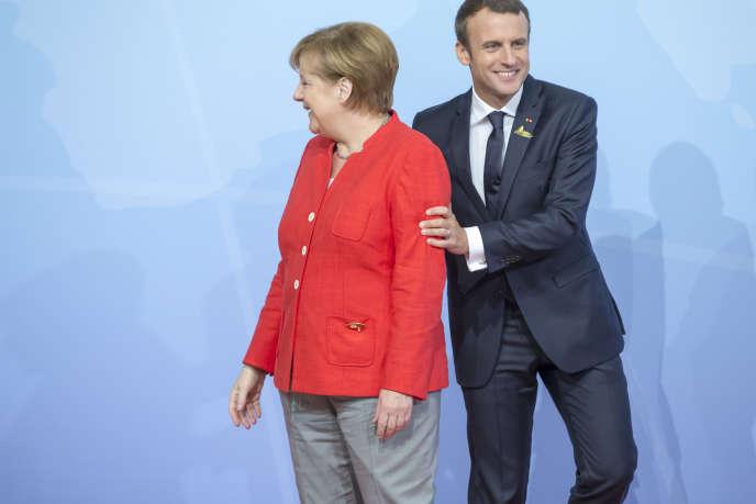 Emmanuel Macron et Angela Merkel participent à la réunion des chefs d'Etat et de gouvernement des pays membres du groupe du G20 à Hambourg, Allemagne, vendredi 7 juillet 2017 - 2017©Jean-Claude Coutausse / french-politics pour Le Monde