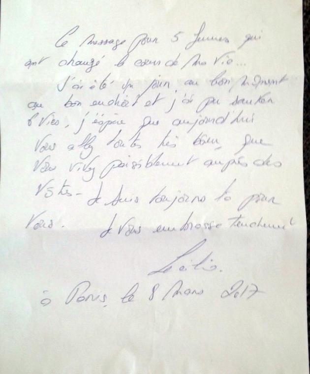 La lettre de Cécilia Sarkozy aux infirmières bulgares, datée du 8mars2017.