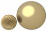 La sphère réduite à côté de la sphère lisse plus grosse. Les longueurs sur la surface sont les mêmes.
