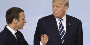 Emmanuel Macron et Donald Trump au sommet du G20, à Hambourg (Allemagne), le 7 juillet 2017.