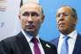 Vladimir Poutine, le président russe, et Sergueï Lavrov,le chef de la diplomatie russe, le 8 juillet 2017.