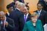 Donald Trump, Nguyen Xuan Phuc (premier ministre du Viet-Nam) et Angela Merkel participent à la seconde journée de la réunion des chefs d'Etat et de gouvernement des pays membres du groupe du G20 à Hambourg, Allemagne, samedi 8 juillet 2017 - 2017©Jean-Claude Coutausse / french-politics pour Le Monde