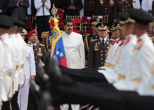 Le président vénézuélien, Nicolas Maduro, participe à une cérémonie d'intronisation des forces armées nationales, le 7 juillet.