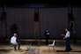 """Joao Pedro Vaz, Cristina Vidal et Isabel Abreu durant les répétitions de """"Sopro"""", mis en scène par Tiago Rodrigues, le 5 juillet 2017, à Avignon."""