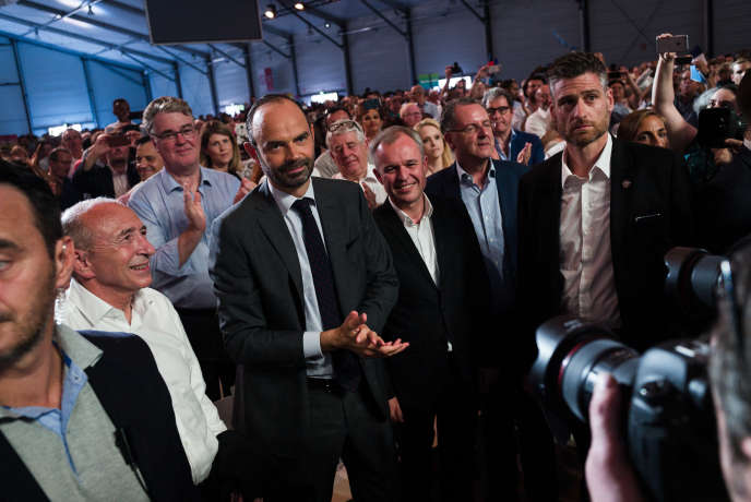 Le premier ministre, Edouard Philippe, le ministre de l'intérieur, Gérard Collomb, le président de l'Assemblee nationale, François de Rugy, et Richard Ferrand, lors d'une convention de La Republique en marche, au Paris Event Center, à la Villette, en juillet.