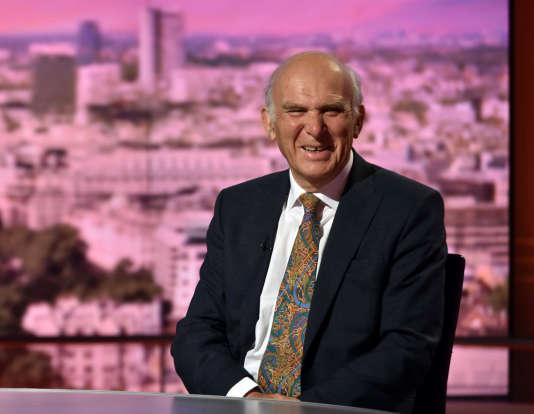 Le député et nouveau chef du Parti libéral-démocrate britannique, Vince Cable, sur un plateau de la BBC à Londres, en Grande-Bretagne, le 9 juillet 2017.
