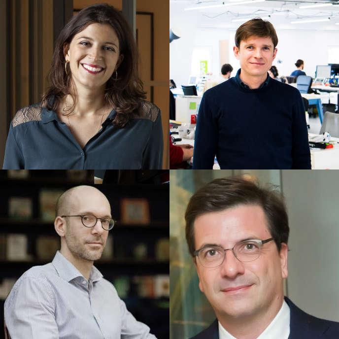 Julia Bijaoui en haut à gauche, Paulin Dementhon en haut à droite, Nicolas Colin en bas à gauche et Carlo d'Asaro Biondo en bas à droite.