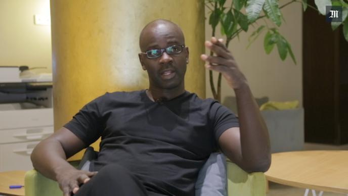 Lilian Thuram lors d'un entretien pour le «Monde Afrique», le 6 juillet 2017, à Abidjan (Côte d'Ivoire).