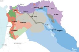 La carte du Proche-Orient au début du mois de juillet 2017, après la reprise de Mossoul par les troupes irakiennes.