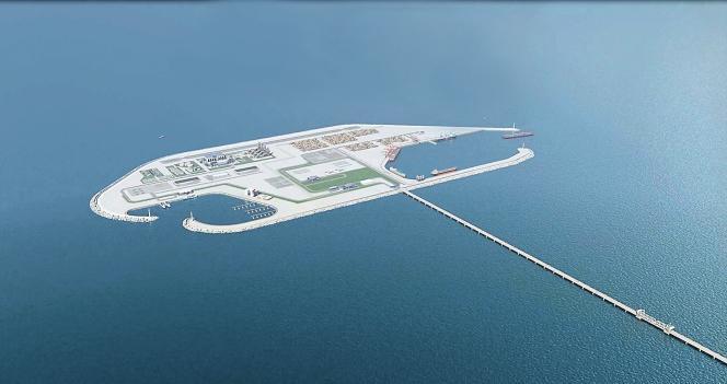 Le projet d'Yisrael Katz :une île de 530 ha environ, avec un port commercial et civil, reliée à la bande Gaza par un pont de 4,5 km.