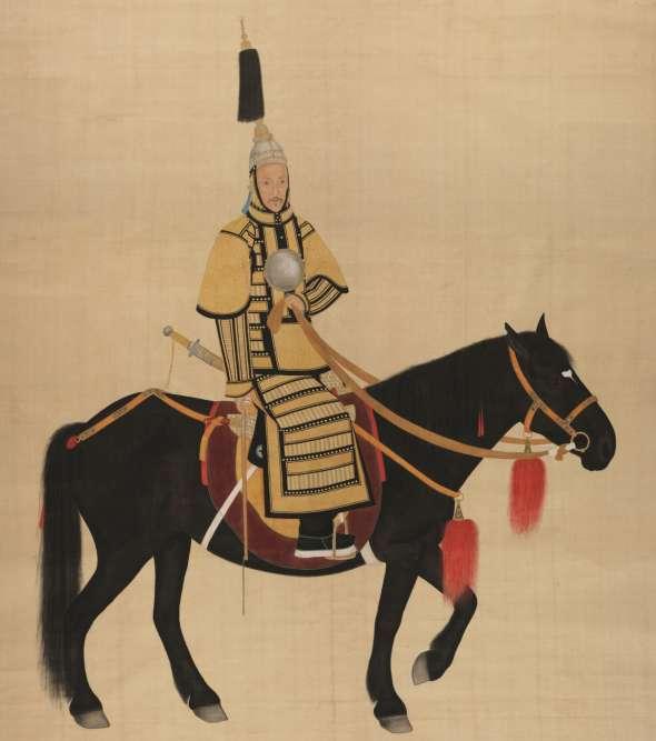 «Cette représentation de l'empereur date du milieu du XIXe siècle et n'a encore jamais été exposée. L'empereur Daoguand figure dans un costume d'apparat, plus précisément une cuirasse impériale brodée de fil d'or. C'est une image conventionnelle inspirée de ses ancêtres qu'on voit apparaître à cheval à partir de 1740. »