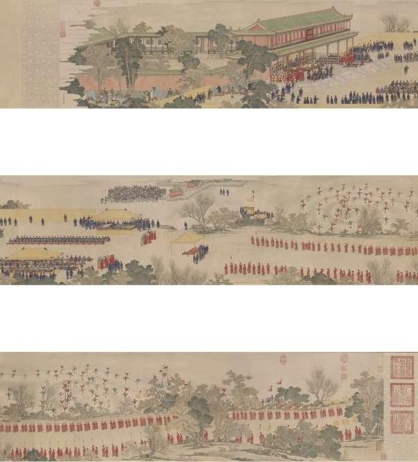 «Ce rouleau représente le grand défilé des Huit Bannières allant jusqu'au pavillon des ambassadeurs à la sortie de la Cité interdite au moment du Nouvel An chinois. Cette peinture fut commandée par l'empereur Qianlong à un peintre académique du palais.»